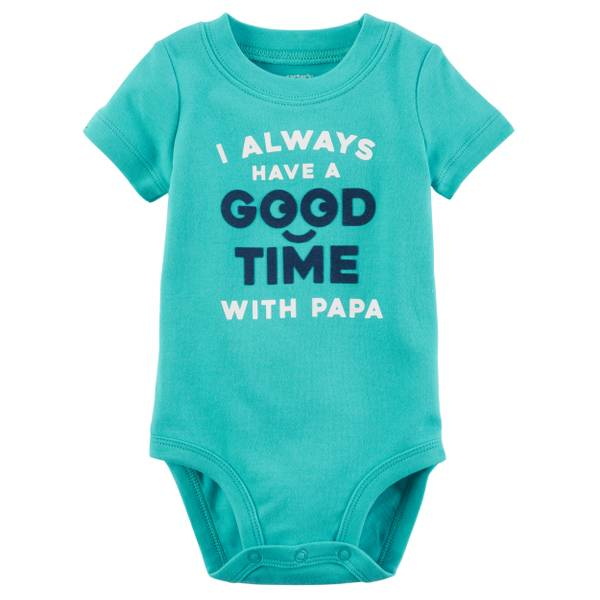 Little Boys' Short Sleeve Slogan Good Time Turquoise
