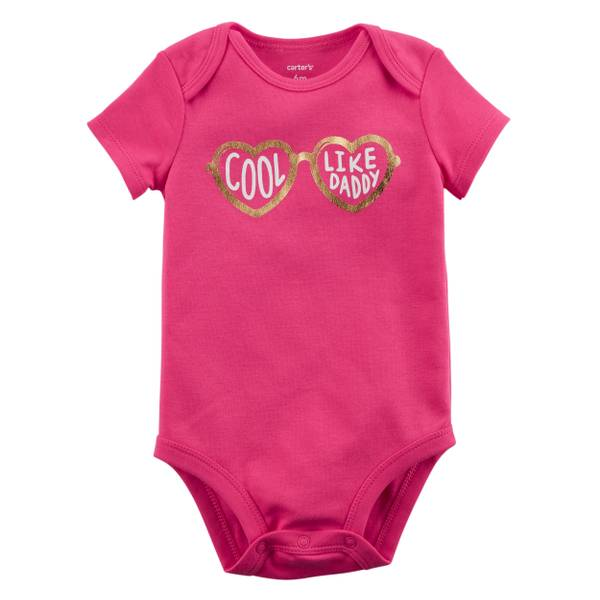Little Girls' Short Sleeve Slogan Cool Bright Pink
