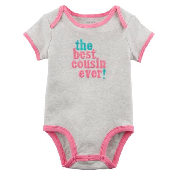 Little Girl's Short Sleeve Slogan Best Cousin Oatmeal Bodysuit