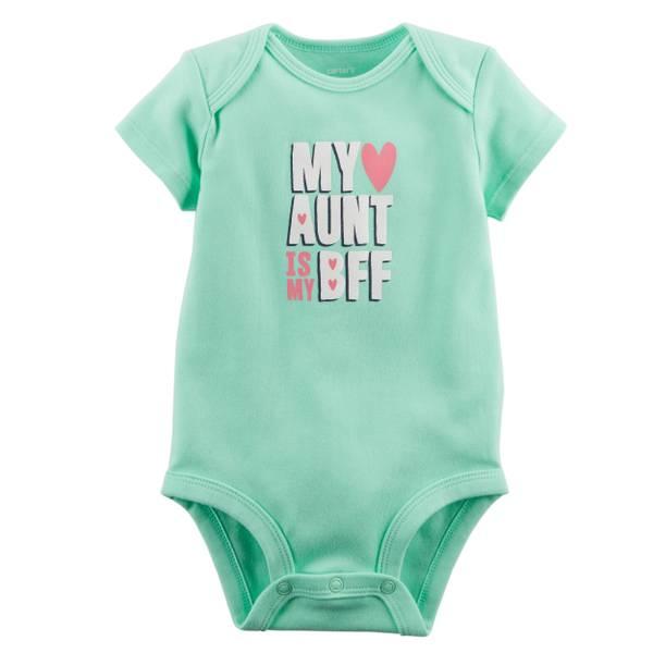 Little Girls' Short Sleeve Slogan Aunt BFF Mint