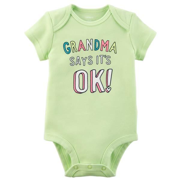 Little Girls' Short Sleeve Slogan Grandma Lime