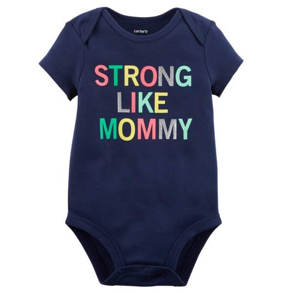 Little Girls' Short Sleeve Slogan Strong Navy