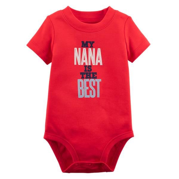 Little Boys' Short Sleeve Slogan Nana Red