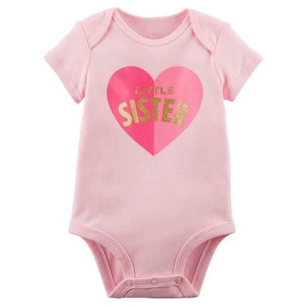 Little Girl's Short Sleeve Slogan Sister Light Pink Bodysuit