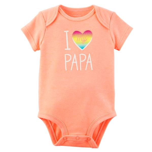 Little Girls' Short Sleeve Slogan Papa Orange