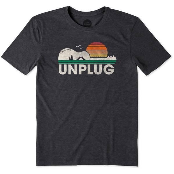 Men's Black Short Sleeve Unplug Camp Guitar Tee Shirt