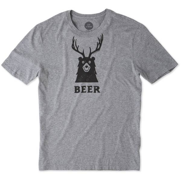 Men's Gray Short Sleeve Bear + Deer T-Shirt
