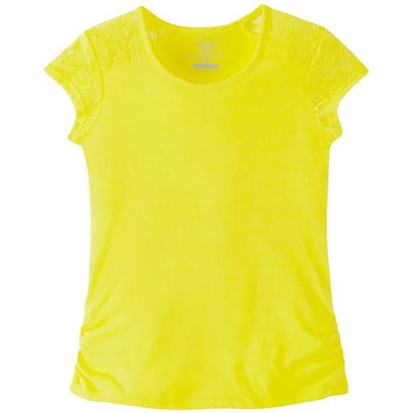 Little Girls' Short Sleeve Lace Shoulder Tee