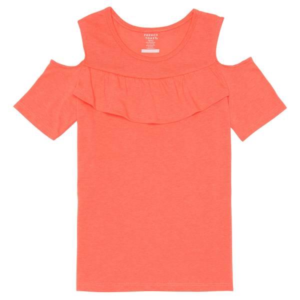 Little Girls' Ruffle Front Cold Shoulder Tee Shirt