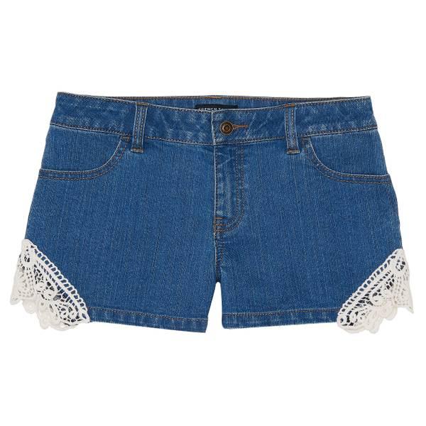 Little Girls' Medium Wash Crochet Shorts