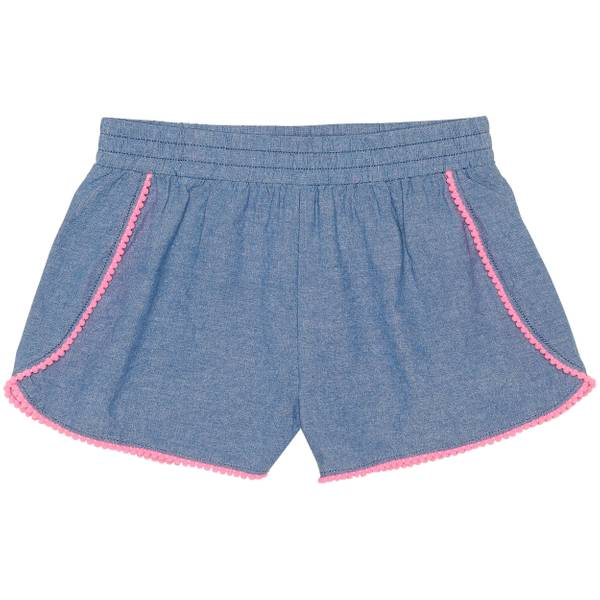 Little Girls' Chambray Pom Pom Trim Shorts