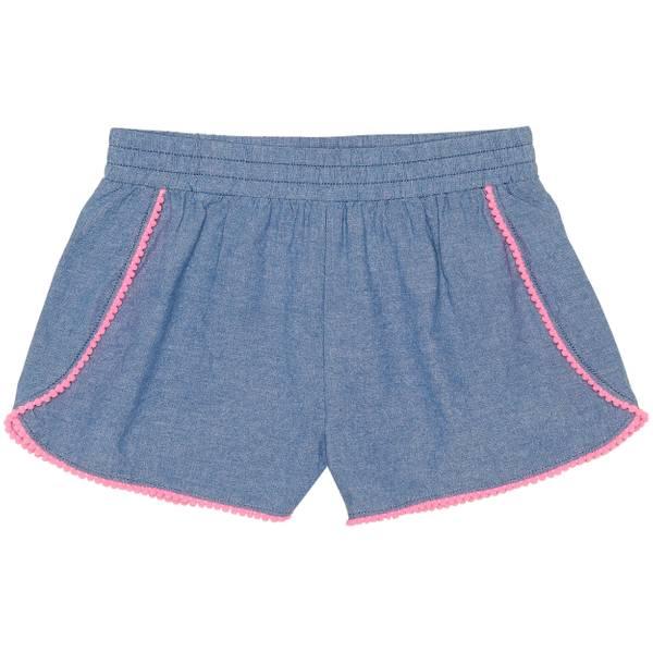 Girls' Chambray Pom Pom Trim Shorts