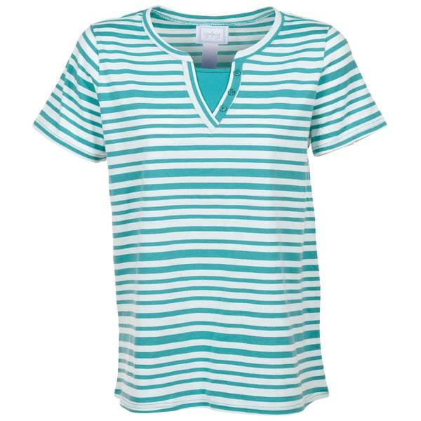 Women's Striped Short Sleeve Y-Neck Etta Top