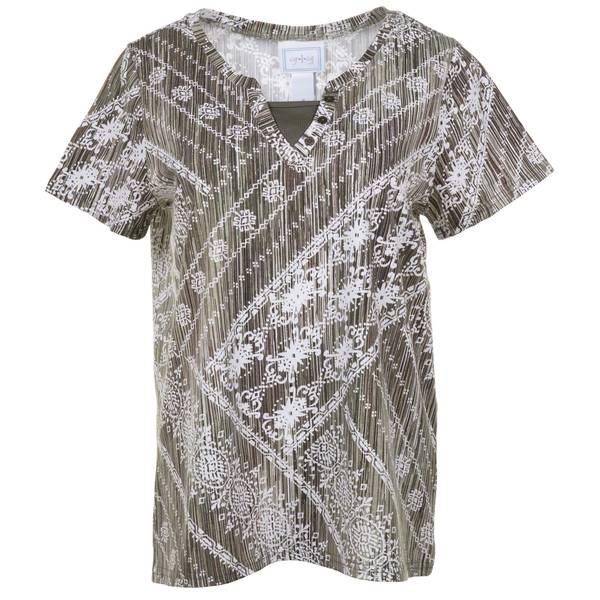 Women's Etta Print Y-Neck Short Sleeve Top