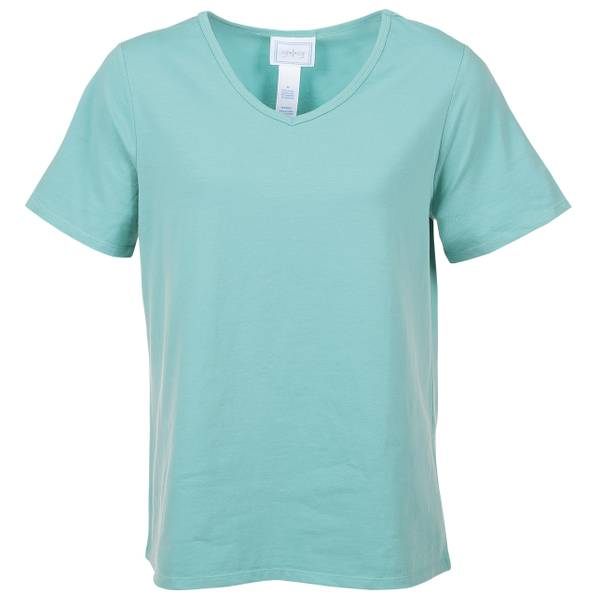 Women's Blue Short Sleeve Tilly V-Neck Top