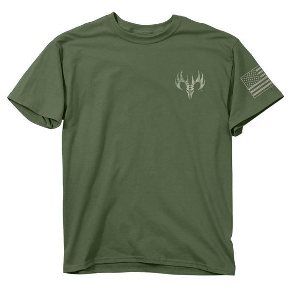 Men's Military Green Short Sleeve Freedom Flag T-Shirt