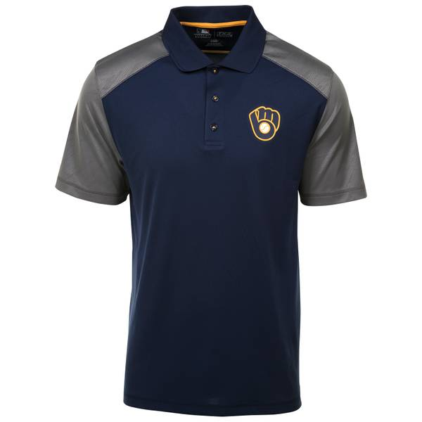 L Brewers Cunning S/S Polo Nvy/Gry/Gold