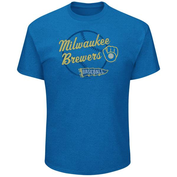 Men's Royal Heather Milwaukee Brewers Cap To Win Tee