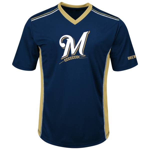 Men's Navy & Gold Milwaukee Brewers Synergy Tee