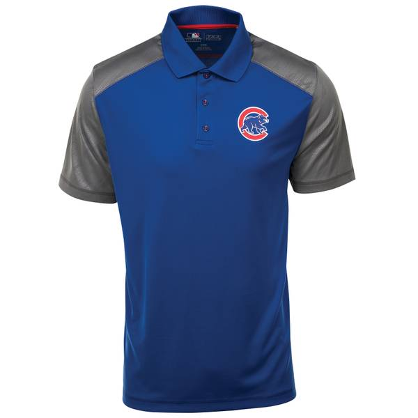 Men's Royal Blue, Gray, & Red Short Sleeve Chicago Cubs Cunning Polo Shirt