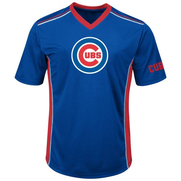 Men's Royal Blue, Red, & White Short Sleeve Chicago Cubs Synthetic V-Neck T-Shirt