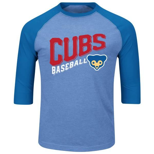 Men's Light Blue 3/4-Sleeve Chicago Cubs Bases Loaded Shirt