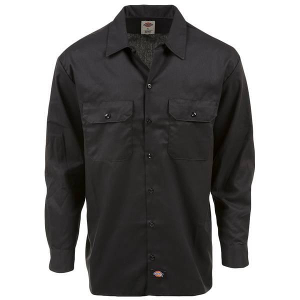 Men's Black Long Sleeve Flex Work Shirt