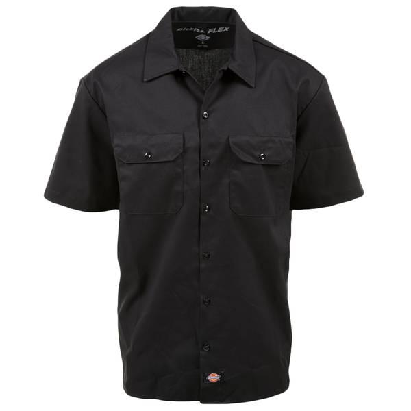 Men's Black Short Sleeve Flex Work Shirt