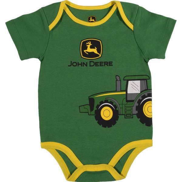 Boy's Green Short Sleeve Tractor Wrap Bodysuit