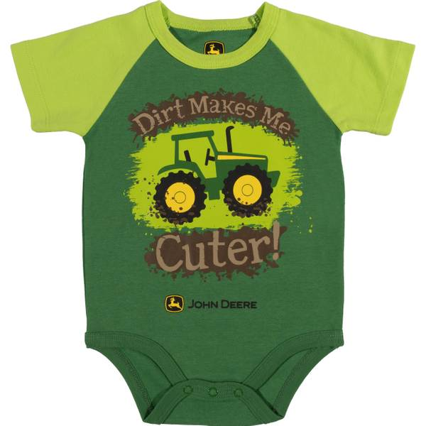 Boy's Green Short Sleeve Dirt Makes Me Cute Bodysuit
