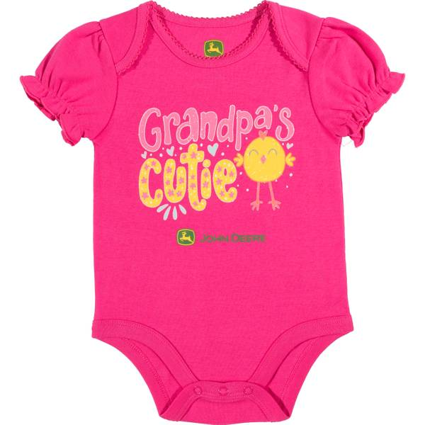 Girls' Magenta Short Sleeve Grandpa's Cutie Bodysuit