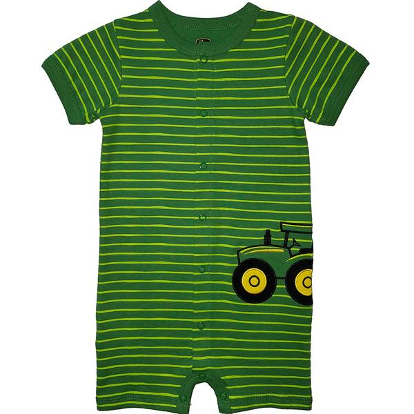 Boys' Green Short Sleeve Tractor Striped Romper