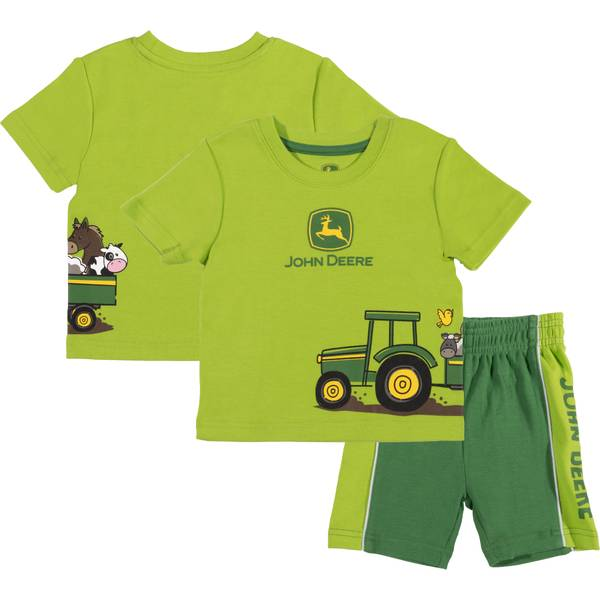 Girls' Green 2-Piece Animal Wagon Short Set