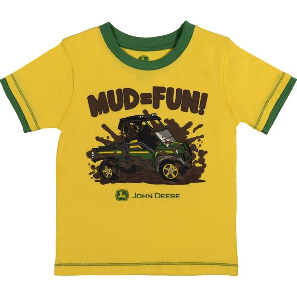 Boy's Yellow & Green Short Sleeve Mud = Fun Tee Shirt