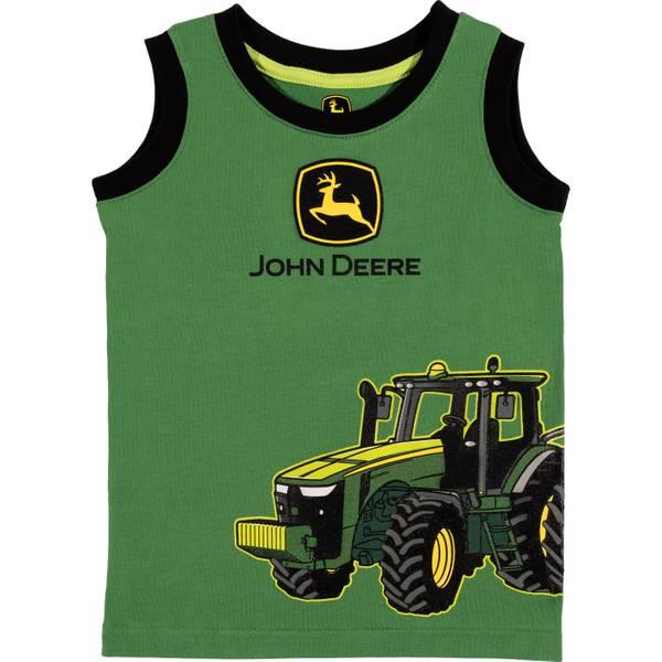 Boy's Green Tractor Wagon Muscle Tee Shirt