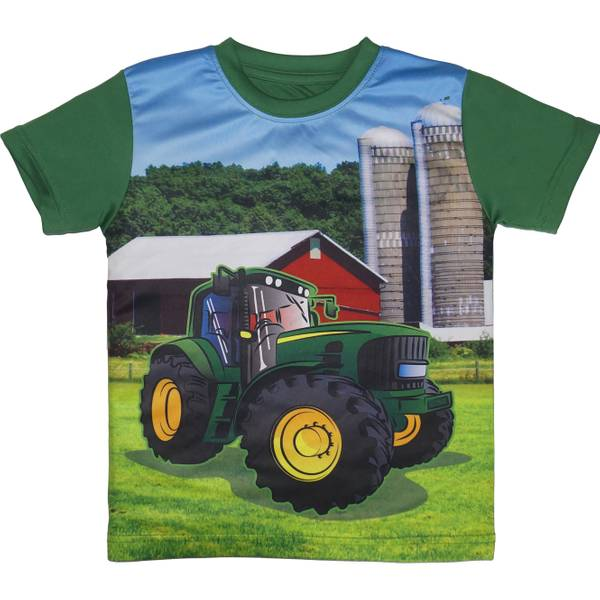 Boy's Green Short Sleeve Farm Tee Shirt