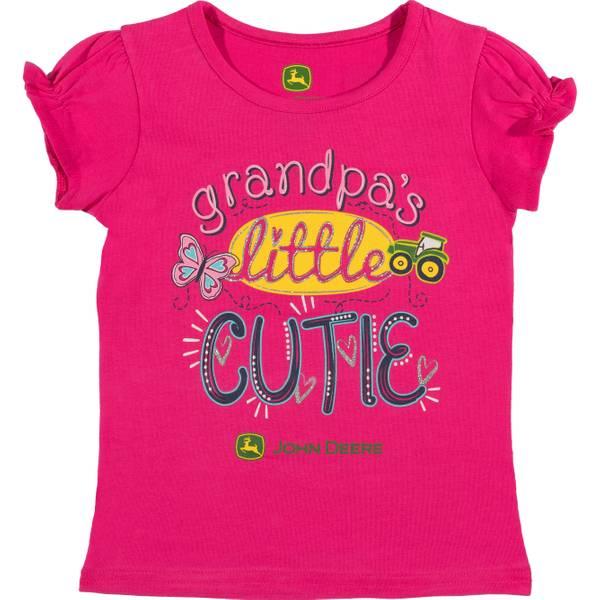 Girls' Magenta Short Sleeve Grandpa's Lil Cutie Tee Shirt