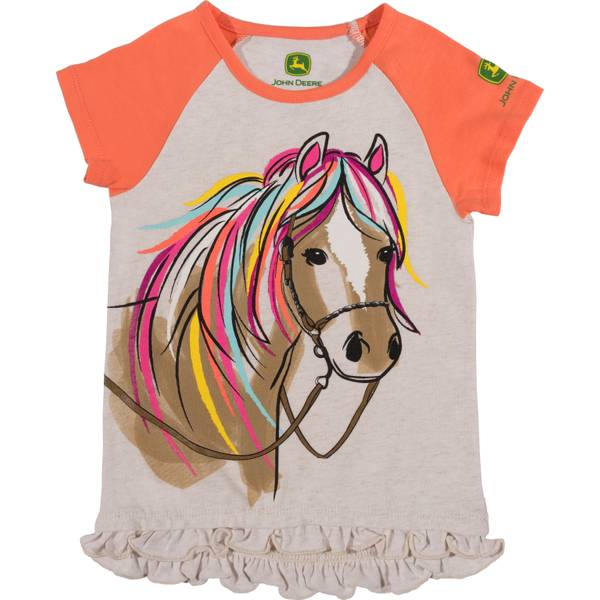 Girls' Oatmeal Heather Short Sleeve Horse Tunic