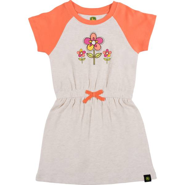 Girls' Heather & Coral Flower Garden Dress