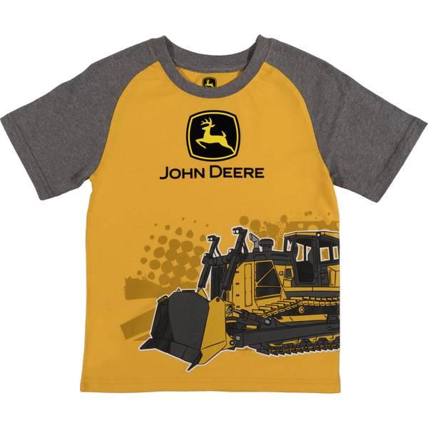 Little Boys' Yellow & Grey Short Sleeve Bulldozer Tee Shirt