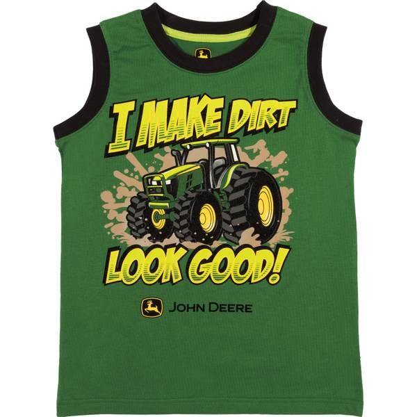Little Boys' Green Short Sleeve I Make Dirt Look Good Muscle Tee Shirt