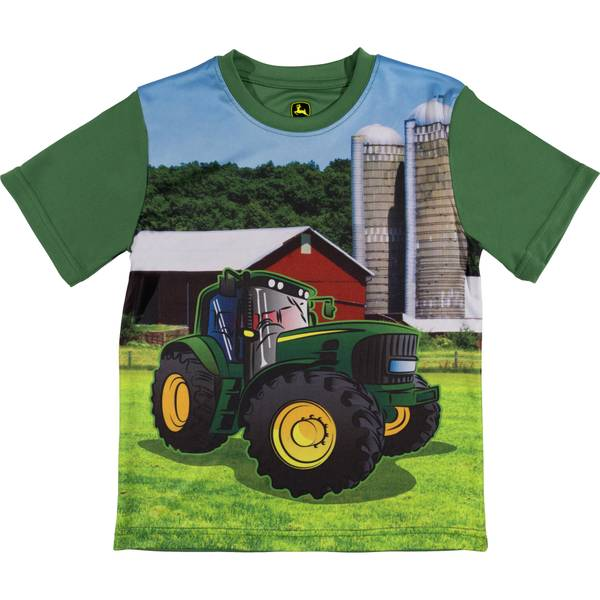 Little Boys' Green Short Sleeve Farm Tee Shirt