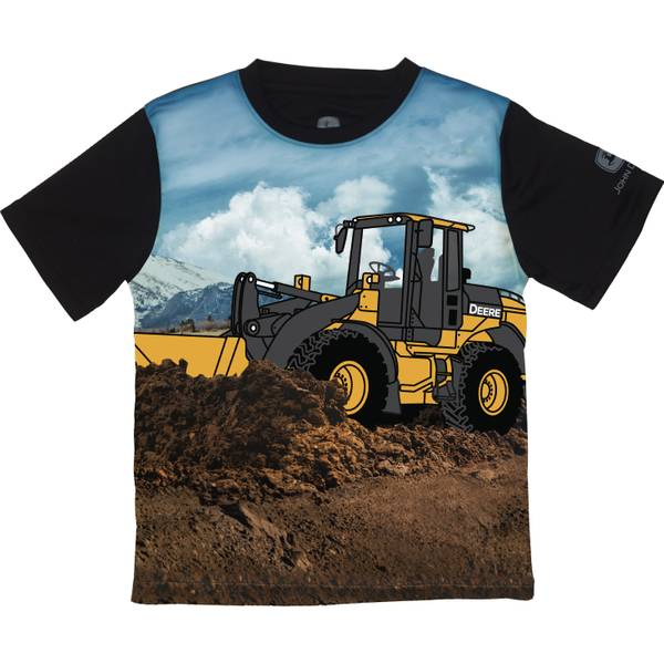 Little Boys' Black Short Sleeve Bulldozer Tee Shirt