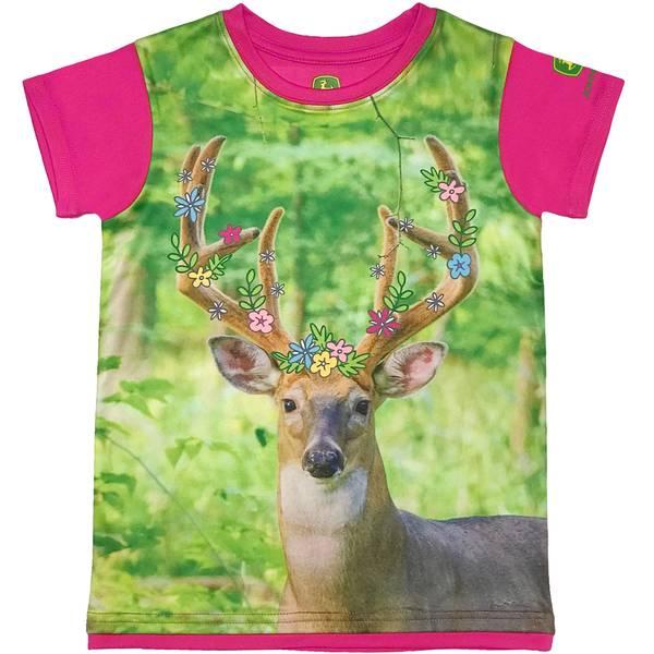 Little Girls' Magenta Short Sleeve Deer Tee Shirt