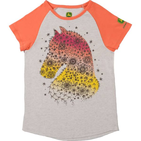 Little Girls' Coral Short Sleeve Country Horse Tee Shirt