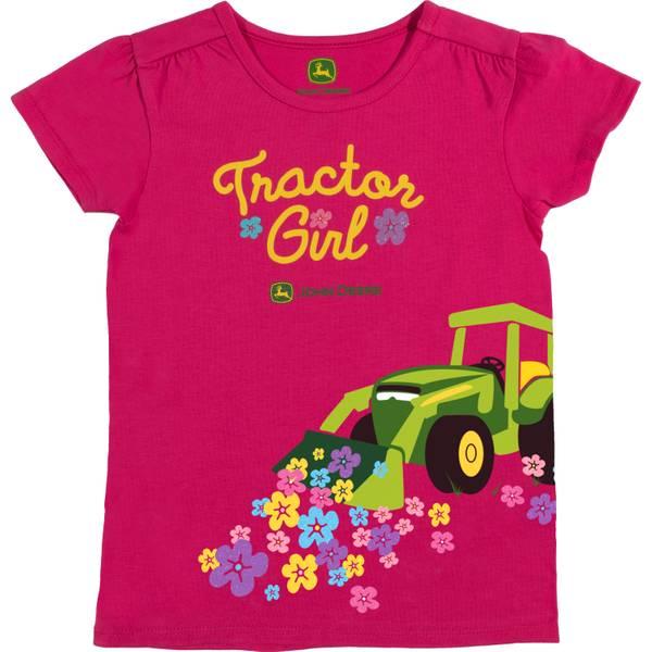 Little Girls' Pink Short Sleeve Tractor Girl Tee Shirt