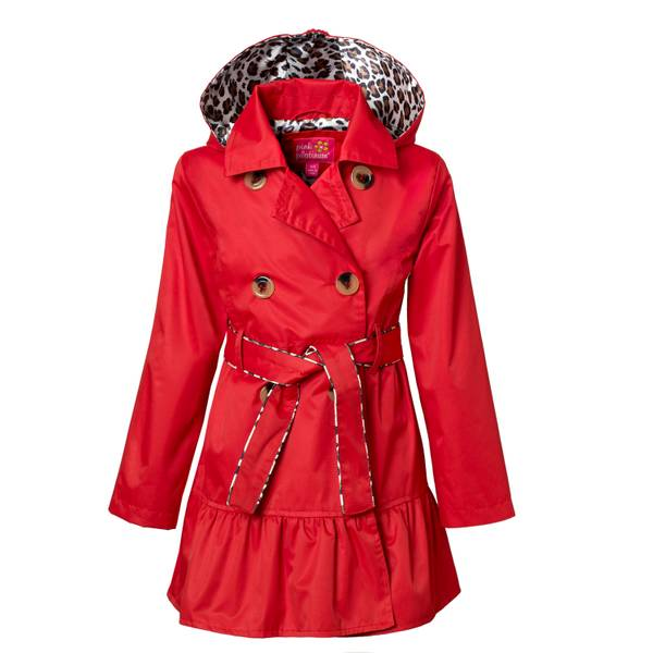 Girls' Satin Red Lining Classic Trench Coat