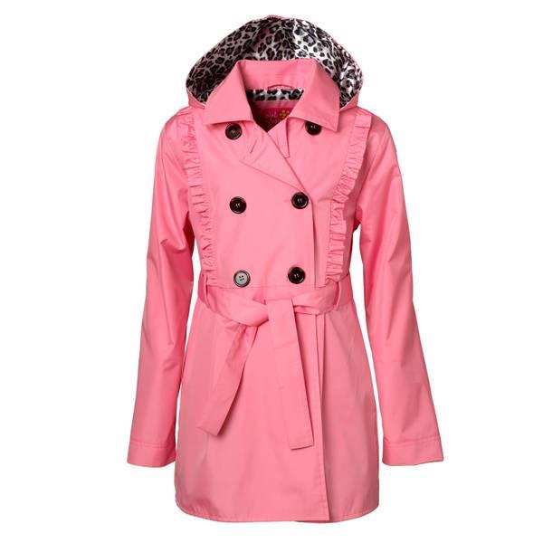 Girls' Ruffle Satin Lining Pink Trench Coat