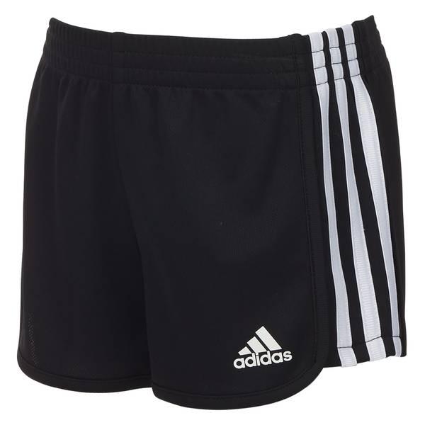 Girls' Black Three Stripe Mesh Shorts