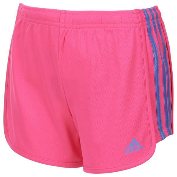 Girls' Pink Three Stripe Mesh Shorts